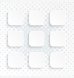 blank white rounded square website buttons set vector image