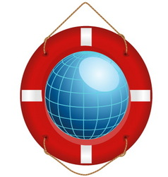 blue globe in red lifesaver vector image