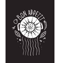 Bon Appetit Pasta Design with Colander and vector image