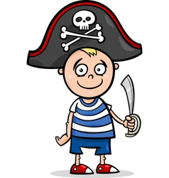 Boy in pirate costume cartoon vector