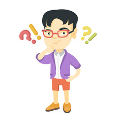 Boy standing under question and exclamation marks vector