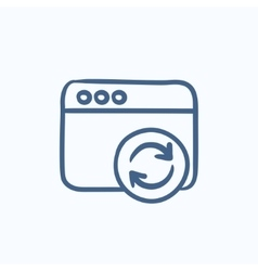 Browser window with refresh sign sketch icon vector image vector image