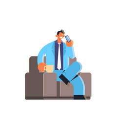 businessman talking on mobile phone happy business vector image