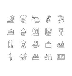 cake maker line icons signs set outline vector image