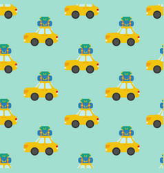 car with luggage seamless pattern vector image