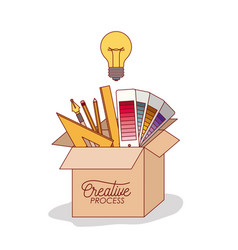 Carton box with work elements inside graphic vector