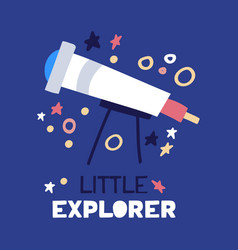 cartoon flat telescope flat with text little vector image
