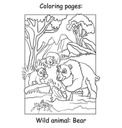 children coloring book page bears vector image