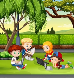 Children working in the park vector