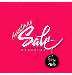 Christmas sale tag on a shoestring vector