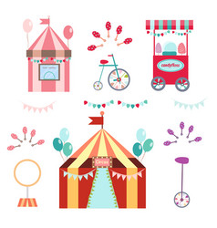 Circus set on white background vector