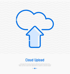 cloud upload thin line icon vector image