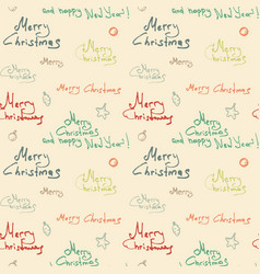 color christmas calligraphic seamless pattern on vector image