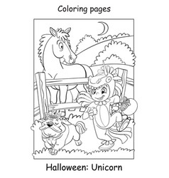 Coloring page girl with a dog in unicorn costumes vector