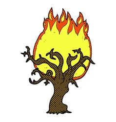 comic cartoon winter tree on fire vector image