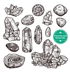 Crystals And Stones Set vector image