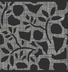 Cut out shapes on linen texture seamless pattern vector