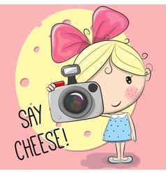 Cute cartoon Girl with a camera vector image