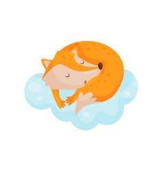 Cute little fox sleeping on a cloud lovely animal vector