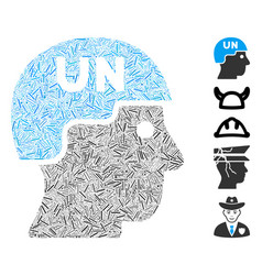 Dash mosaic united nations soldier helmet vector