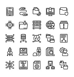 Data management line icons vector