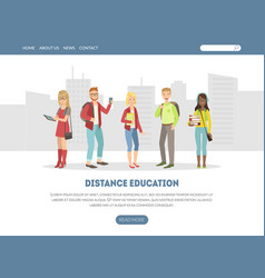 distance education landing page online vector image