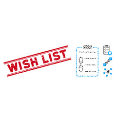 distress wish list line stamp and collage vector image