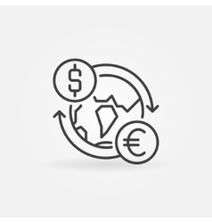 Dollar to Euro convert icon vector