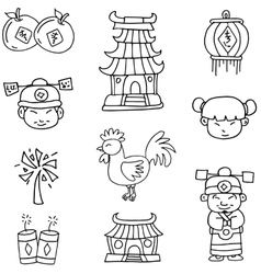 doodle chinese element new year vector image
