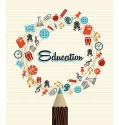 Education global icons back to school pencil vector