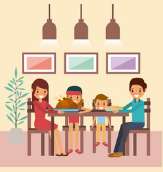 family together dinner thanksgiving sitting in vector image