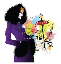 Fashion girl in retro style vector image