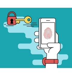 Fingerprint scanning on smartphone vector image