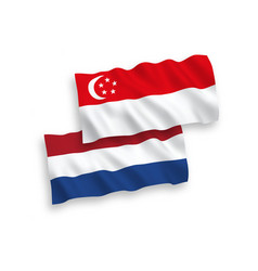 Flags singapore and netherlands on a white vector