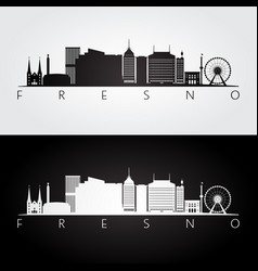 fresno usa skyline and landmarks silhouette vector image