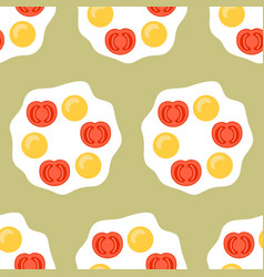 fried egg with tomatoes flat colored vector image