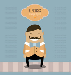 funny cartoon character stylish hipster guy vector image