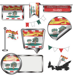 Glossy icons with flag of province prince edward vector