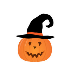 halloween pumpkin in a witch hat isolated vector image