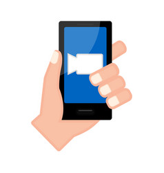 Hand holding a smartphone with a film icon vector