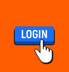 hand mouse cursor clicks the login button vector image