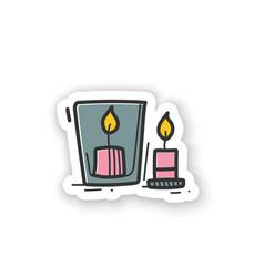 Handmade candles sticker vector