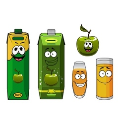 Happy cartoon apple juice vector image