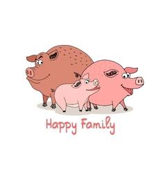 happy family fun cartoon pigs vector image