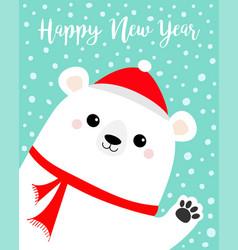 happy new year big white polar bear waving hand vector image