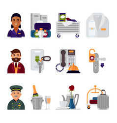 Hotel accommodation workers personal professional vector