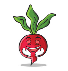 In love radish character cartoon collection vector