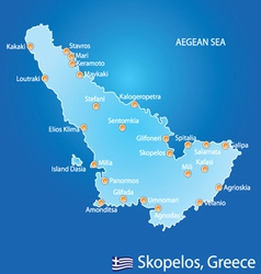Island of Skopelos in Greece map vector image