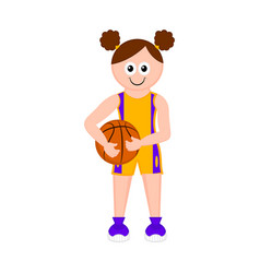 isolated cute basketball player with a ball vector image