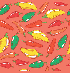 Jalapeno pepper on pink - seamless pattern vector